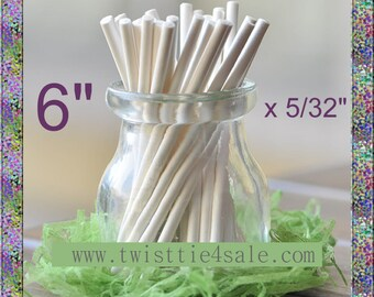 "100pcs 6"" x 5/32"" Paper  Lollipop Sticks for Cake Pops"
