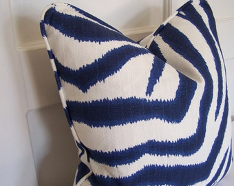 WITH PIPING!  Blue and White Zebra Ikat Designer Pillow Cover with Piping,  Decorative Pillows, Accent Pillow, Throw Pillow