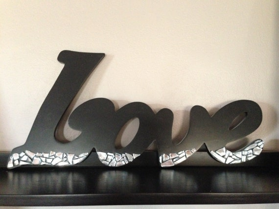 "Black Wooden ""Love"" Decor with Mosaic Mirror Accents"