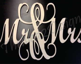 Connected Mr & Mrs Wooden Sign - Wedding or Home Decor