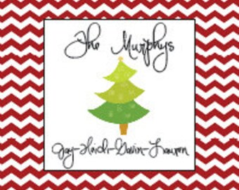 Personalized Christmas Chevron Calling Card/ Gift Tags