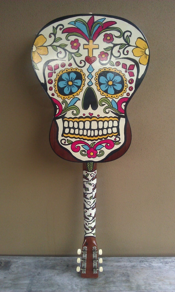 unique original hand painted guitar sugar skull. Black Bedroom Furniture Sets. Home Design Ideas