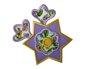 "Star Flower and Buds Applique Machine Embroidery Design Pattern in 3 sizes 4"", 5"" and 6"""