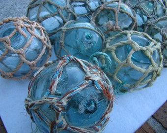 """3"""" Japanese Glass Fishing Floats - With Netting ~ Old Vintage Japan Buoy - Nautical Maritime"""