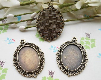 SALE--20 Pcs 36x29mm Antique Bronze Plated Brass Cabochon Base frame Base for making resin necklaces and pendants