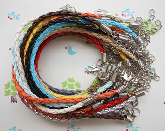 100pcs  7-9inch asorted colors (mix colors) faux braided leather bracelet cord with white k fittings,braided cord bracelet
