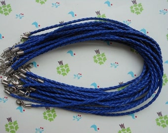 SALE 40pcs 16-18inch 3mm Royal Blue Faux Braided Leather Necklace With 2 inch Extension Chain