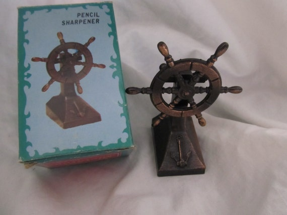 Miniature Die Cast Captains Ship Moving Wheel Pencil Sharpener Collectible Trinket with Box