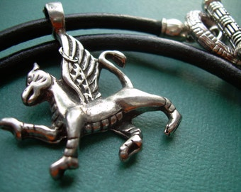 Griffin Necklace, Mythical Griffin Pendant , Leather Necklace, Mens Necklace,  Mens Jewelry, Mens Gift, Pendant, Mythical, Wings