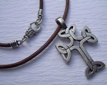 Celtic Cross Pendant on a Leather Necklace, Mens Necklace, Mens Jewelry, Mens Gift, Pendant, Leather Necklace, Fathers Day
