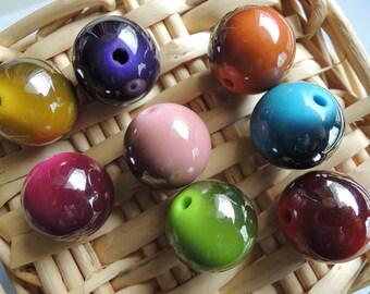 one set of 8 Pcs  Mixed Color Metallic Acrylic Beads -18mm (S101)