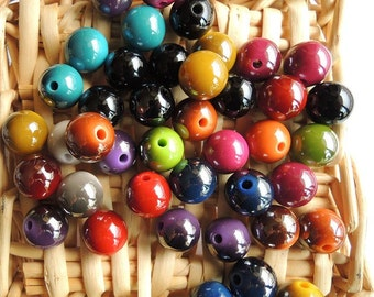 25Pcs  Mixed Color Metallic Acrylic Beads -12mm (S102)