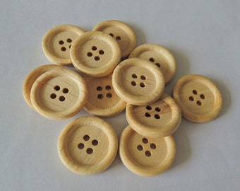 15Pcs  20mm Unfinished Natural  Wood button 4 holes No varnish  for your handmade ( W107)