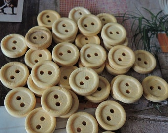 50Pcs  12mm Unfinished Natural  Wood button 2 holes No varnish  for your handmade ( W110)