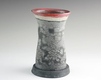 Tall Raku Vase with Red Detail