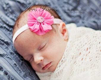 "Mini Ballerina in Hot Pink on 3/8"" Satin Elastic w/Rhinestone Center, Baby Headband, Girls Headband, Mini Flower Headband"