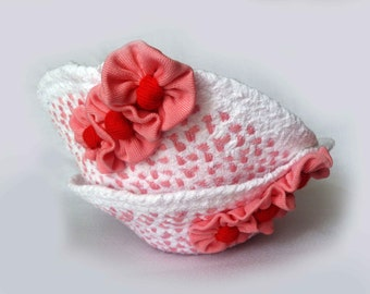 Two Baskets hand braided from cotton t-shirts,decorated with flowers,ready to ship