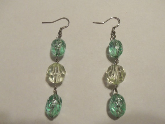 Green and Crystal Clear Glass Dangle Earrings