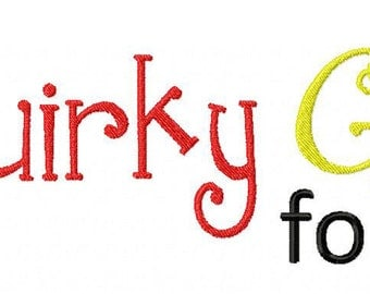 INSTANT DOWNLOAD Quirky Girl Machine Embroidery Font Set Includes 3 Sizes