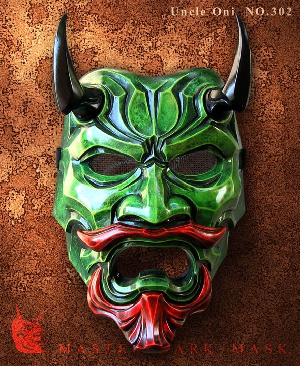 uncle oni mask 302 green fiberglass japanese noh style art. Black Bedroom Furniture Sets. Home Design Ideas