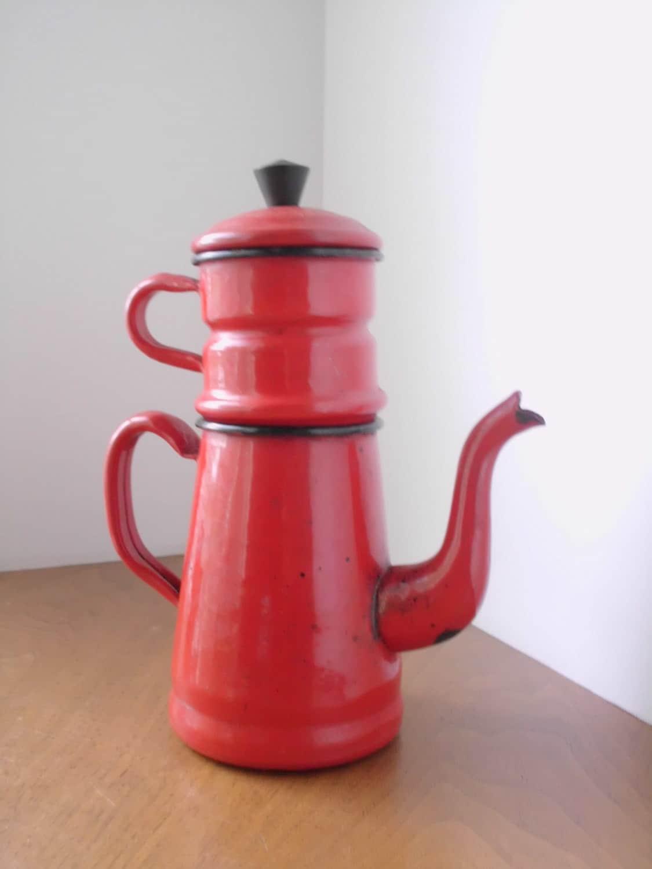 Rare French Drip Coffee Pot Enamel 3 Piece Made In Belgium