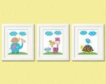 Pink and blue Nursery Art Print Set - 8x10 - Baby Room Decor, colorful, elephant, owl, turtle, green, brown, giraffe - UNFRAMED
