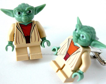 Star Wars Cufflinks - LEGO Yoda Cufflinks - Best Man Gift - Mens Cufflinks - Groomsmen Gift - Geek Wedding - Geek Jewelry