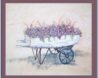 Flowers in Antique Wheel Barrel Hand Painted