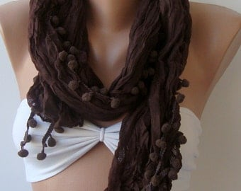 Chocolate scarf, Pompom Cotton scarf, Summer scarf, Elegance scarf, Brown lace scarf, Women scarf, Brown scarf, Crinkle, Christmas scarf