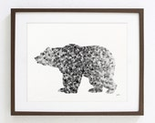 Bear Art Watercolor Painting - 8x10 Archival Print - Grizzly Bear Print - Black and White Art Print - Gray, Black Bear Silhouette