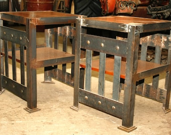 "Pair of side-auxiliary tables made out of iron and red cedar, 20""x20""x262"