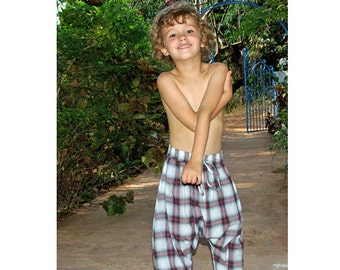 Saroual baggy checks pants, Harem boys pants, summer pants boys