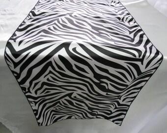 Satin Charmeuse Zebra Print Table Runner.