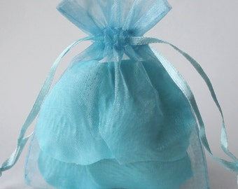 100 Light Blue Organza Bags, Sheer Favor Bags, Baby Shower Favors, Wedding Favor Bags, Organza Favor Bags, 3 x 4, 4 x 6, 5 x 8, 6 x 9