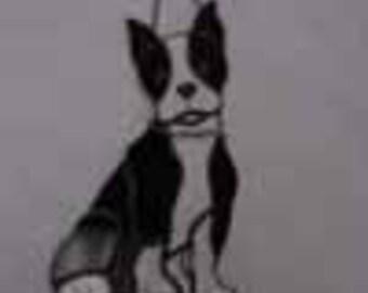 Custom Stained Glass Boston Bull Terrier Dog