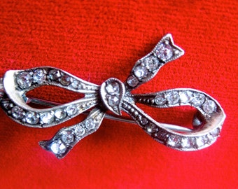 Antique Sterling Silver & Paste Bow  Pin