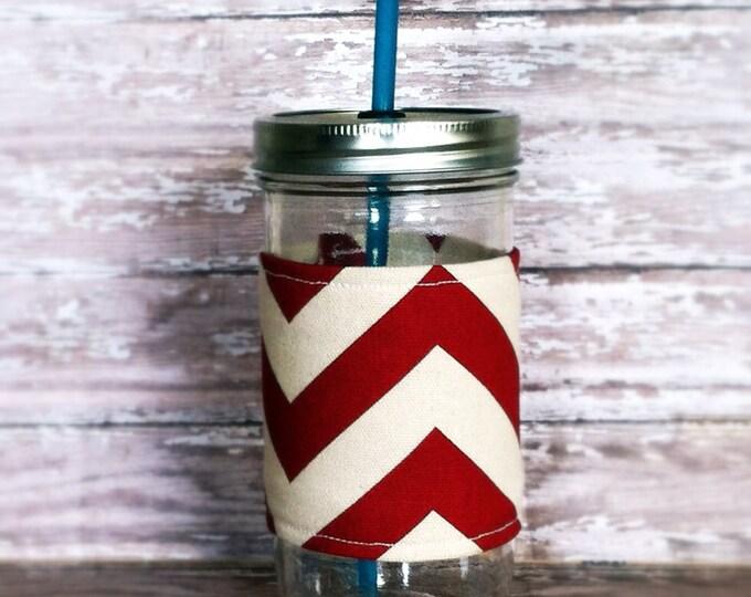 Mason Jar Tumbler 24oz Red Chevron Insulated Cozy w BPA Free Straw - Travel Mug Great Gift