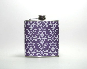 Purple and White Damask 6 oz Size Stainless Steel Liquor Hip Flask Flasks Weddings Bridesmaids Gift Idea
