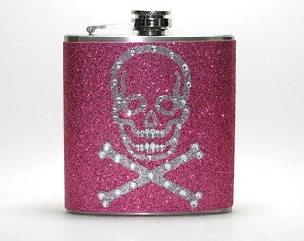 Pink Rhinestone Scull Crossbones Sparkly Glitter  6 or 8 oz Size Stainless Steel Liquor Hip Flask Flasks Weddings Bridesmaids Gift Idea