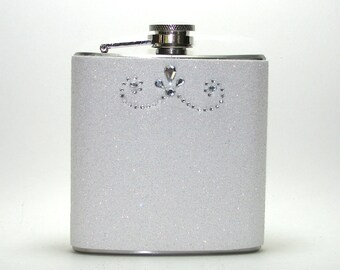 White Rhinestone Sparkly Glitter 6 oz Size Stainless Steel Liquor Hip Flask Flasks Weddings Bridesmaids Gift Idea