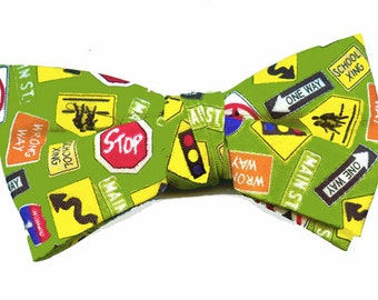 Boys & Toddler Bow Tie with Traffic Signs on Cotton Material - Clip On Style
