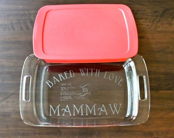 Custom Etched Pyrex Dish with Lid