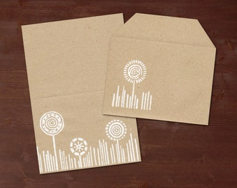 Flowers white - handprinted stationery // recycling paper