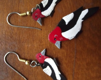 Vintage hand cut and painted leather earrings with matching pin - Red-headed woodpecker