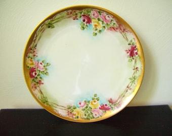BAVARIAN  FLORAL PLATE  Gold Rimmed Handpainted Vintage Plate from Bavaria