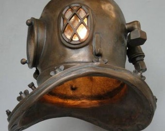 Antique Mark V Divers Helmet Hanging Light Fixture