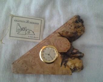 Vintage Koletech Designs burl table clock