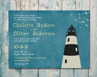 Printed Card | 50-75 Sets | Vintage Light House Wedding Invitation and Reply Card Set - Wedding Stationery - ID108