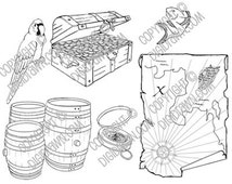 Instant Download Digi - Pirates Ahoy Digital Stamps