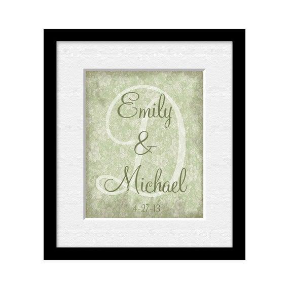Monogram Wedding Art Print Personalized Wedding Gift, Engagement ...